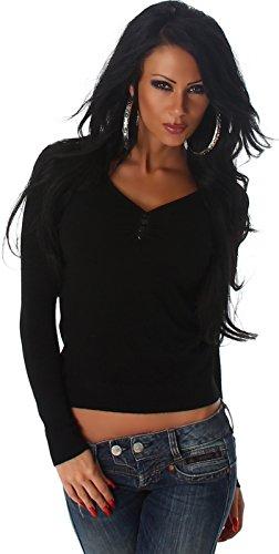 Luxestar Damen Stretch-Pullover / Langarm-Shirt einfarbig mit Deko-Knöpfen (32/34/36/38) Schwarz