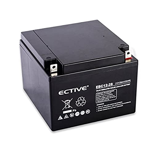 ECTIVE EBC-Serie | Zyklenfester 12V Bleiakku | 10 Varianten: 9Ah - 50Ah |Wartungsfreier Blei-AGM-Akku, Blei-Vlies-Akku, AGM-Akku, Bleigelakku, Blei-Akku, Blei-Batterie für höchste Anforderungen (28 Ah)