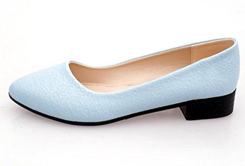 YCMDM Frauen Low-heeled Schuhe Casual und bequeme reine Farbe Freizeit Single Schuhe Blue