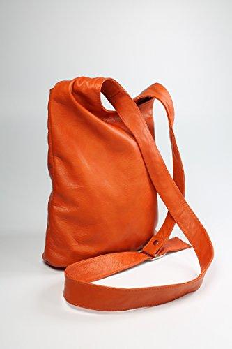 BELLI ital. Umhängetasche Cross Over Bag Damen Ledertasche Handtasche - Farbauswahl - 24x28x8 cm (B x H x T) Orange