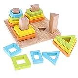 D DOLITY Holz Steckpuzzle Farbe & Form Sortierspiel Puzzle Steckspiel Sortier Holzspielzeug für Kinder ab 3 Jahren - # 4