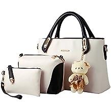 MissFox Elegante Da Donna Cerniera Design Handbag Shoulder Bag Tote Bag 3 Pezzi