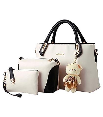 MissFox Women 3 Piece Tote Bag Zipper Handbag Purse Bags Set Beige