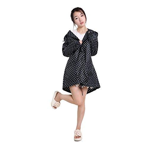 Vêtements de Pluie Manteau Imperméable à Capuche XAGOO Mode Elégant pour Femmes et Filles Noir