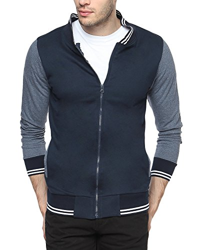 Campus Sutra Men's Quilted Cotton Jacket (AW15_HVAR_M_PLN_BUCH_Blue and Charcoal_Medium)