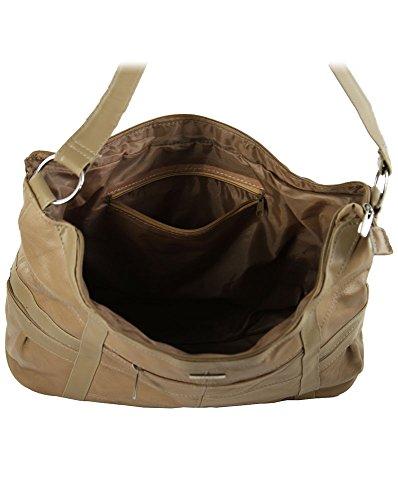 Große Leder-Handtasche mit kurzem Riemen 3776 Beige - Fawn