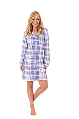 NORMANN WÄSCHEFABRIK Damen Nachthemd Langarm zum durchknöpfen im Karodesign Single Jersey - 213 90 153, Größe:40/42;Farbe:lila