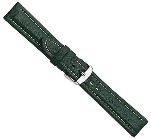 Bio-Leder Uhrenarmband Kalbsleder XL Dunkelgrün 22360S, Stegbreite:20mm