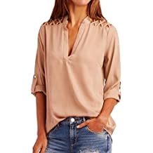 Napoo Women Long Sleeve Shirt, Chiffon Hollow Out Tab-Sleeve T Shirt Solid Cuffed Sleeve Tops Shoulder Criss Cross