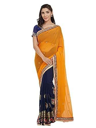 SareeShop Women's Georgette Saree with Blouse Piece, Free Size(,2411-SareeS, Orange and Navy Blue)
