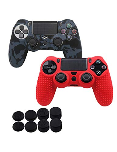 SPDYCESS Silicone Custodie Cover per PS4 Controller - Antiscivolo Silicone Skin Cover Case Skin x2 + Tappi Joystick FPS PRO Thumbstick x8 per Playstation 4/PS4