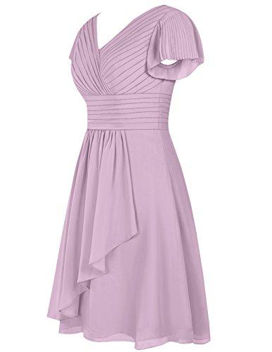 Dresstells Robe de demoiselle d'honneur en mousseline col en V manches courtes longueur genou Bordeaux