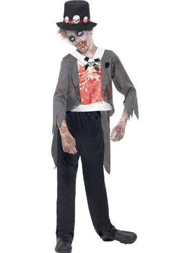 Smiffys, Kinder Jungen Zombie-Bräutigam Kostüm, Jacke, bedrucktes Mock Hemd, Hose und Hut, Größe: T (Alter 12+ Jahre), - Zombie-kostüm Bräutigam