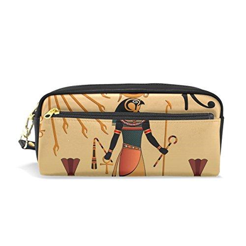 Eslifey Religion of Ancient Egypt Tragbare Tasche PU Leder Schulstifteetui, Stifteetui, Wasserdicht, Kosmetiktasche, Make-up-Koffer