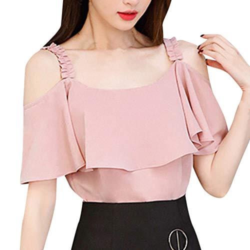 MOTOCO Damen Sommer Polos Kurzarm Bluse Shirt Lässig Chiffon Hemd Trägerlos Schultergurt Chiffon Poloshirt Top(2XL(40),Rosa)