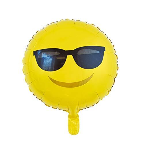partydiscount24 Folienballon Rund Emoji - Freie Auswahl Ø 45 cm (Sonnenbrille, Mit Heliumfüllung)