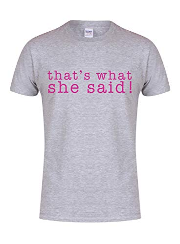 Unisex Youth Slogan T-Shirt That's What She Said Grey Large with Fuschia
