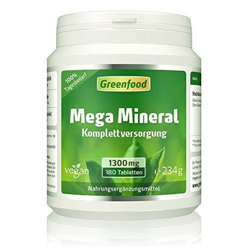 Mega Mineral, 1300 mg, hochdosiert, 100% Tagesbedarf, 180 Tabletten - alle wichtigen Mineralien und Spurenelemente. OHNE künstliche Zusätze, ohne Gentechnik. Vegan. -