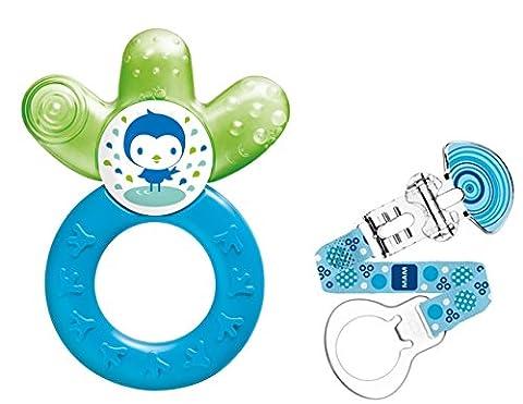 MAM Set - Cooler New & Fashion Clip, Beißring mit Halteband und Ring für Schnuller - Jungen