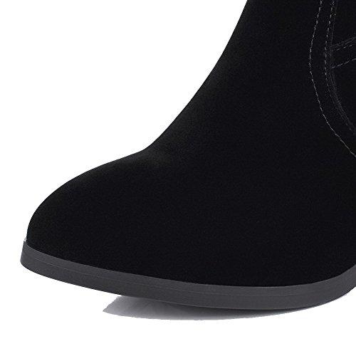 AllhqFashion Damen Reißverschluss Hoher Absatz Mattglasbirne Rein Hoch-Spitze Stiefel Schwarz
