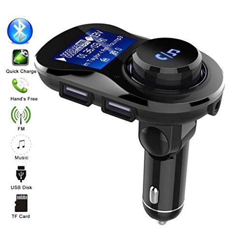 HKFV BC 28 Auto Bluetooth Ladegerät Car Kit Freisprecheinrichtung Wireless BT FM-Transmitter LCD MP3-Player USB-Ladegerät (Schwarz)