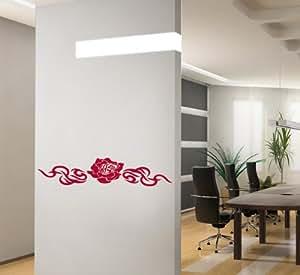 Autocollant 3014 mural Rose couleur : rouge, très grand format, largeur : 140 cm, hauteur : 32 cm XXL, numéro d'article 3014, adhésif mural, sticker, autocollants muraux, décoration détachable. Moins cher que des images ou des peintures.