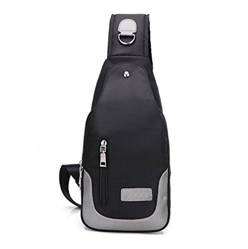 LINGE-Petto di MS spalla borsa uomini Oxford panno impermeabile in nylon Pack , black Black