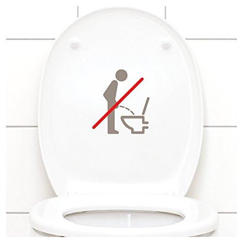 Grandora WC Deckel Sticker - Bitte im Sitzen pinkeln Schild I taupe 11 x 12 cm I Piktogramm WC Bad Badezimmer Toilette Klodeckel Aufkleber W733