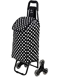 EverBest Foldable Stairs Climbing Shopping Trolley Bag (Black Polka)