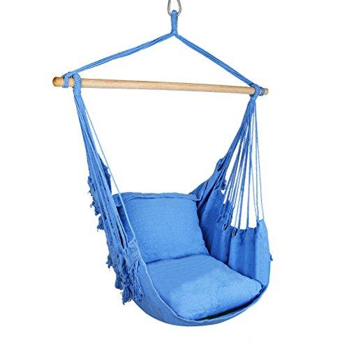 Holifine Hängesessel Hängestuhl mit Fransen inkl. 2 x Kissen und Spreizstab aus Holz, bis 100kg Belastbar - Blau