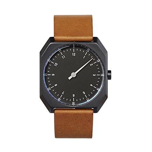 slow AM/PM Edition 04 - Schweizer Unisex Einzeigerarmbanduhr analoge 24 Stundenanzeige Leder Silber/Dunkelbraun