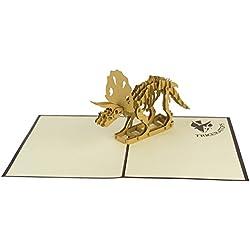 origamo pav651–Tarjeta felicitación, Dinosaurio Triceratops, Origami, Pop Up, 15x 20cm