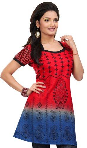 Baumwolle Lange Kurti Tunika Top Frauen Printed Indien Kleidung (Rot, XL)