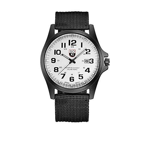 Paar Mode Nylon Armband Analog Quarz Runde Armbanduhr Uhren Stilvolle und Einfache Herrenuhr aus Outdoor-Datum Edelstahl Militärsport Quarz Armee-Armbanduhr für Herren (weiß)