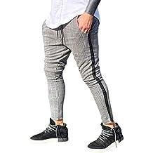 Juleya Pantalon de Jogging Homme zippé - Pantalon de survêtement Fitness  décontracté Gym Pantalon à Carreaux 1b4c6bda0578