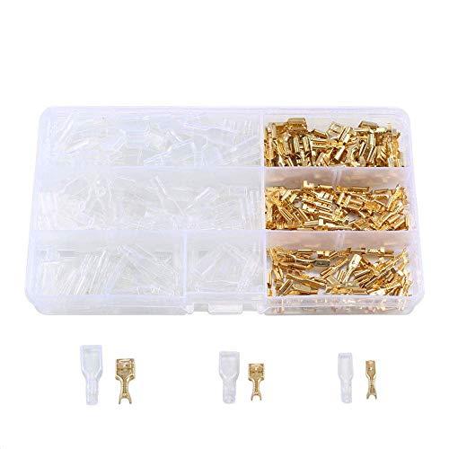 ManYee 150 Stück Flachsteckhülsen Set Kabelschuhe Flachstecker 2,8 mm 4,8 mm 6,3 mm Flachsteckhülse weiblich Elektrische Steckverbinder für Motorrad Auto Schalter