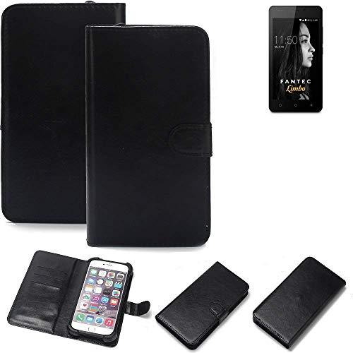 K-S-Trade 360° Wallet Case Handyhülle für FANTEC Limbo Schutz Hülle Smartphone Flip Cover Flipstyle Tasche Schutzhülle Flipcover Slim Bumper schwarz, 1x