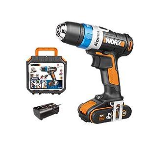 WORX 20V WX178 AI Drill Akku Bohrschrauber, Powershare, 2.0Ah, automatischer Bohrfutter- Arretierung elektronischer Drehmomenteinstellung, Pulse Mode & Bitlock, 1 Std. Schnellladegerät, 18V
