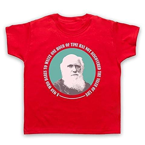 Charles Darwin Value Of Life T-Shirt de L'Enfant, Rouge, 5-6 Years