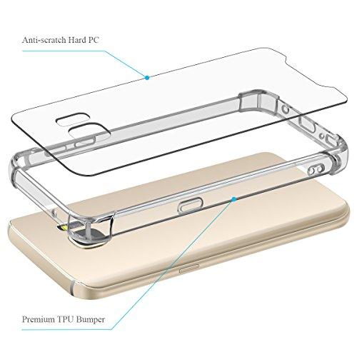 Cover Custodia Samsung Galaxy S7, Elzo 1.2mm Silicone TPU + PC Telefono Protettiva Case Custodia Shock-Absorption Bumper Cover e Anti-Graffio (5.1 inches) (Transparent Bumper Case) Paraurti Trasparente