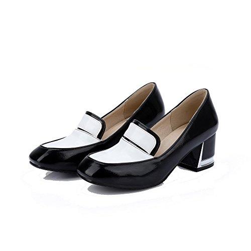 Allhqfashion Pumps Leder Mittler Damen Pu Schuhe Schwarz Ziehen Quadratisch Absatz Zehe Auf 1RxpCwSfRq