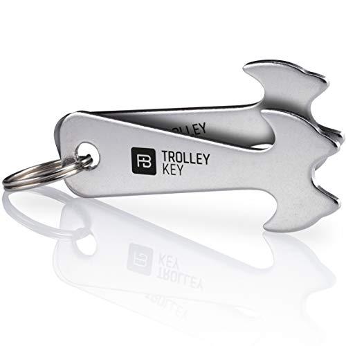 FABACH® 2 Trolley Key Einkaufswagenlöser - Ersetzt Einkaufswagenchip, Einkaufschip - Schlüsselanhänger aus Edelstahl für Key Organizer und Schlüsselbund - Kein Steckenbleiben im Einkaufswagen