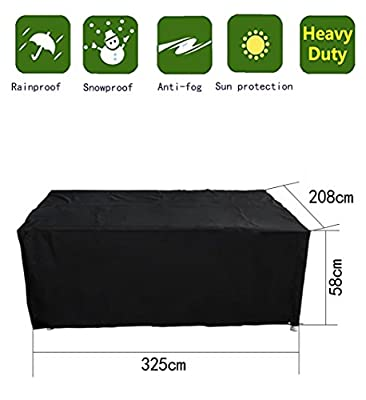 Anderlay Furniture Covers Polyester Oxford Waterproof Outdoor Garden Furniture Table and Chair Covers Black