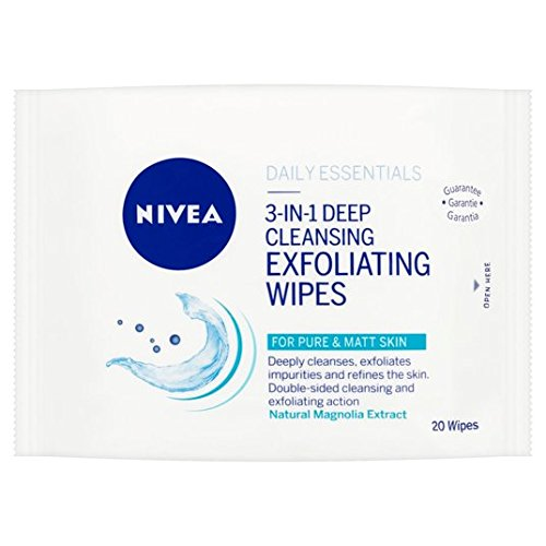 Nivea Daily Essentials 3-in-1 Deep Cleansing Exfoliant Lingettes 20 par paquet