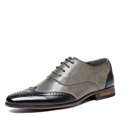 Mens Business Kleid Schuhe Mens Leder Hochzeit Schuhe Formelle Kleidung Schuhe Spitzen Kopf Männer Schuhe Ein Pedal Lässige Faule Seite Reißverschluss Schuh,Gray,42 - Mens Kleid-schuhe