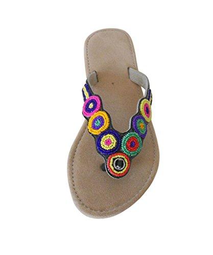 kalra Creations Femme traditionnel indien ethnique en velours Chaussons Marron