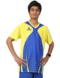 Triumph Men's Polyester Football Yellow Blue V Neck Uniform