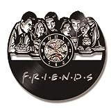 Wanduhr aus Vinyl 3D Freunde TV-Serie CD Rekorduhr Schwarz Hohl Rekord Antikstil Home Decor 12 Zoll