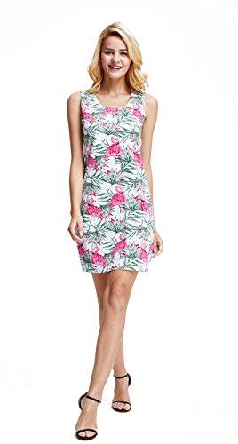 3b8235962063 Hawaii Hangover Vestido sin Mangas con Cuello Halter Rosa y Verde Palms  Flamingo en el Amor
