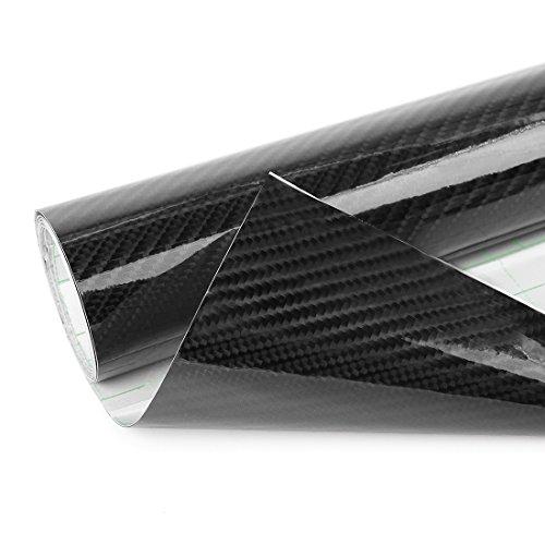 sourcing map 6D fibre carbone sans bulle Film étirable autocollant vinyle voiture 152x60cm